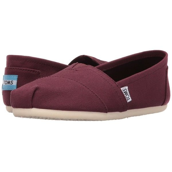 TOMS Seasonal Classics (Red Mahogany Canvas) Women's Slip on  Shoes ($43) ❤ liked on Polyvore featuring shoes, boots, ankle booties, slip on shoes, glitter slip on shoes, canvas slip on shoes, red glitter shoes and breathable shoes
