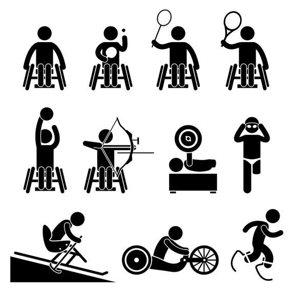 Disable Handicap Wheelchair Paralympic Sports Games Basketball Etsy Paralympic Games Pictogram Stick Figures