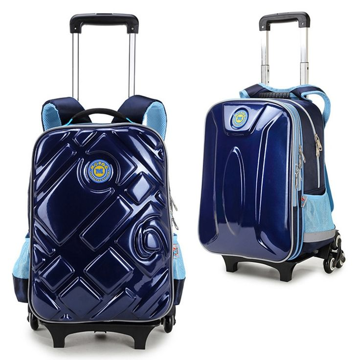 New Fashion Kids Backpack Boys Multifunctional Kids School Bags with Wheel Reflective Strip Trolley Luggage for Boys Girls