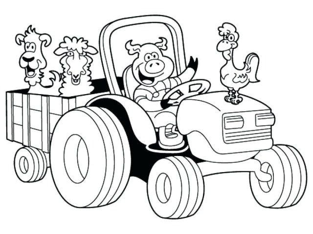 33+ Farmer on tractor coloring page HD
