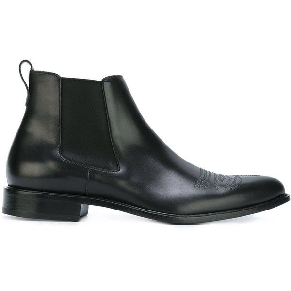 Givenchy cowboy stitching ankle boots ($1,125) ❤ liked on Polyvore featuring men's fashion, men's shoes, men's boots, black, shoes, mens black boots, mens cowboy boots, mens leather shoes, mens black leather shoes and mens leather boots