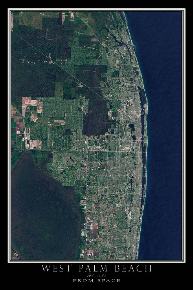 Tucked in the middle of the endless development that stretches along the Florida Atlantic coast is beautiful West Palm Beach. This scene from April of 2015 shows the city including surrounding towns f