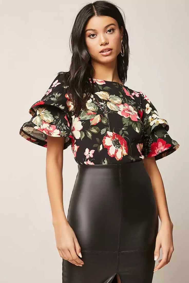 Product Name:ETA Floral Flounce-Sleeve Top, Category:CLEARANCE_ZERO, Price:28