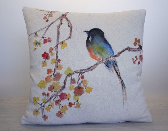 Hey, I found this really awesome Etsy listing at https://www.etsy.com/listing/172774813/hand-painted-decorative-pillow-bird-with - Decorative Throw Pillows Unique Designer Fashion Home Decor Beautiful Covering Patterns Unique Colorful