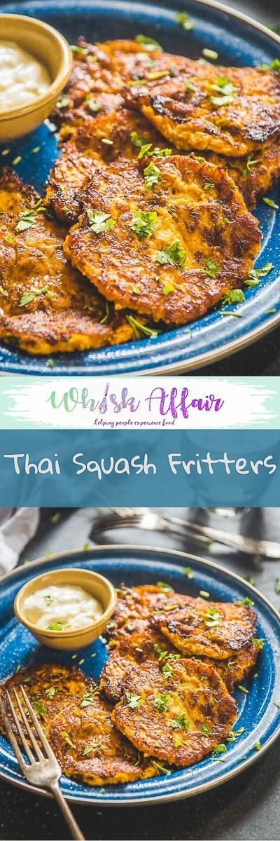 Thai Squash Fritters are delicious appetizers made using yellow squash and thai red curry paste. These are perfect as holiday appetizers.  #AppetizerRecipes #SquashRecipes #HolidayRecipes via @WhiskAffair