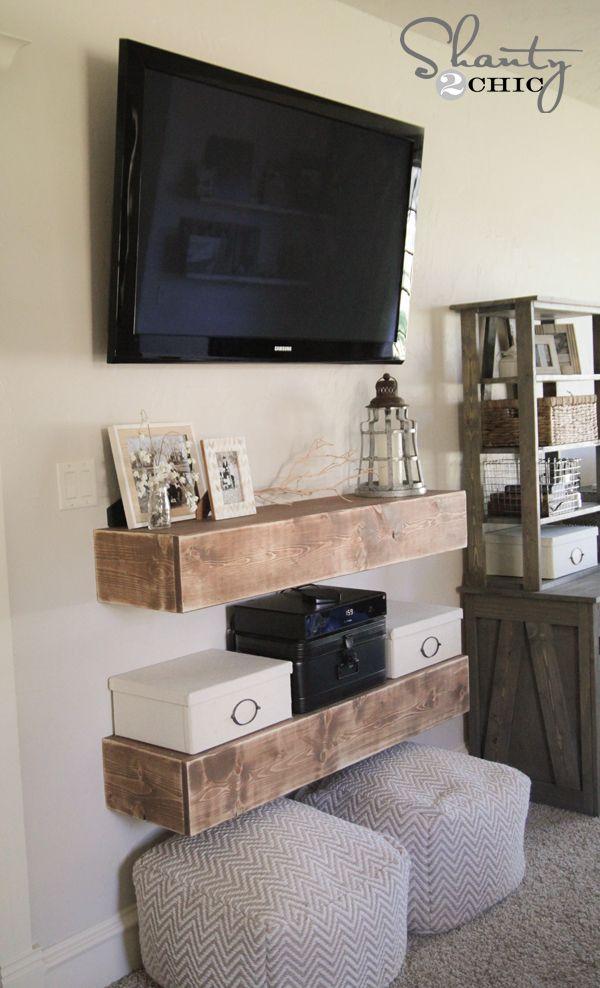 Diy Media Shelves Free Plans Video Tutorial Shanty 2 Chic Floating Shelves Diy Tv In Bedroom Tv Decor