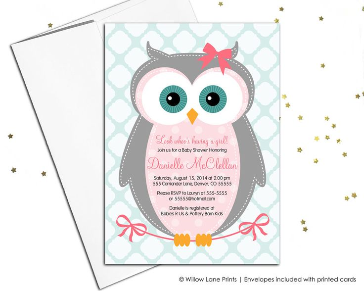 Owl baby shower Invitations for girls - girl baby shower invite with owl - pink and aqua - baby shower themes - printable or printed (784) by willowlaneinvites on Etsy https://www.etsy.com/listing/163139405/owl-baby-shower-invitations-for-girls