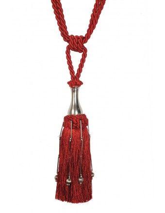 #DecoWindow #Tiebacks Contemporary Key Tassel Tieback Red