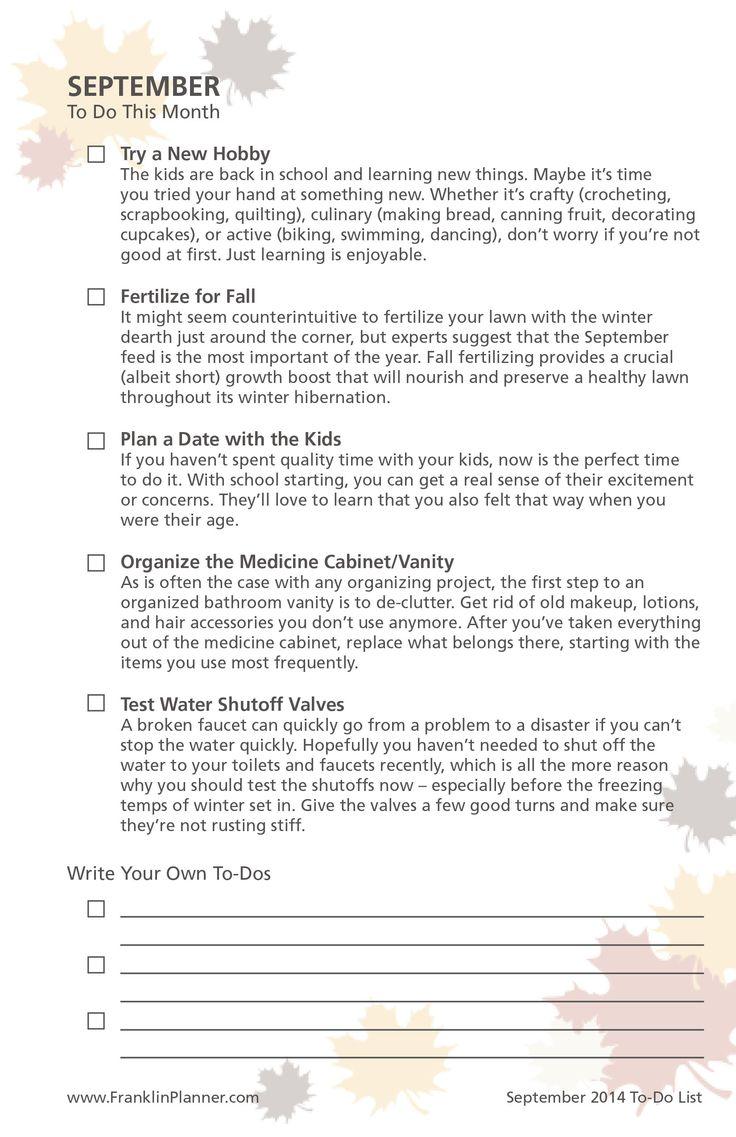 September 2014 To-Do Checklist
