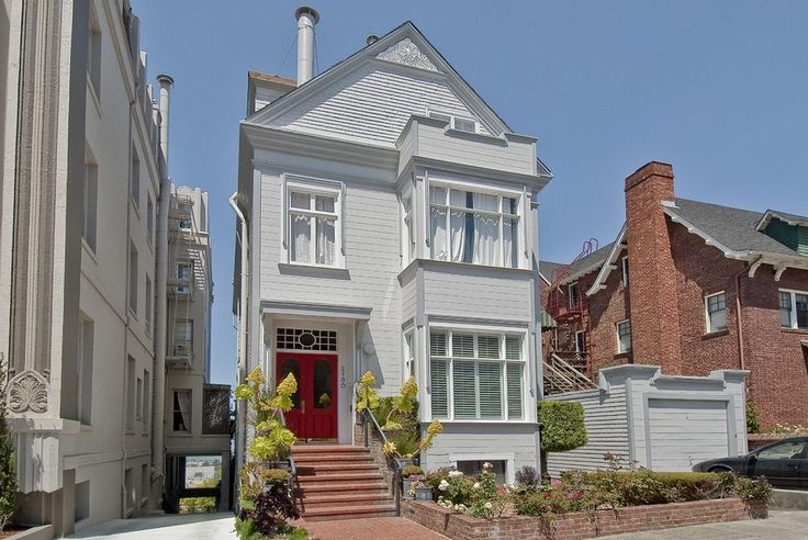 san francisco narrow house exterior victorian with transom window freestanding sculptural outdoor fountains planting beds http://www.eagstudio.com