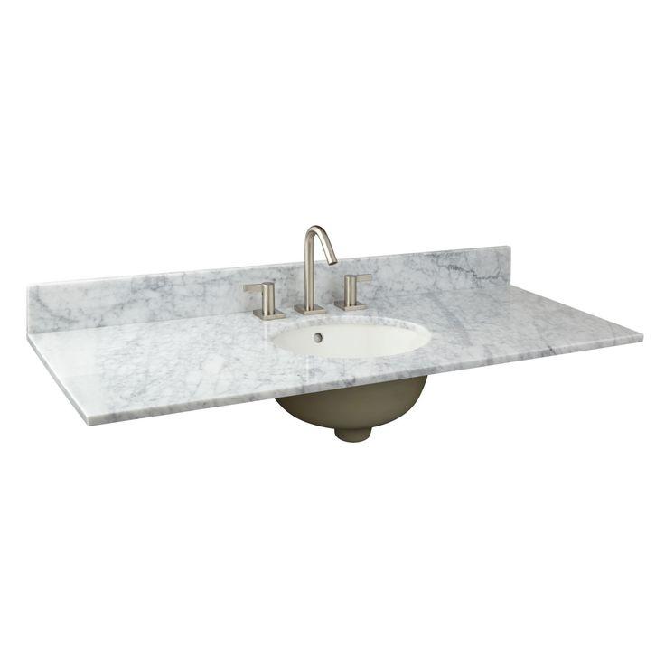 "49"" x 19"" Narrow Depth Marble Vanity Top for Undermount Sink"