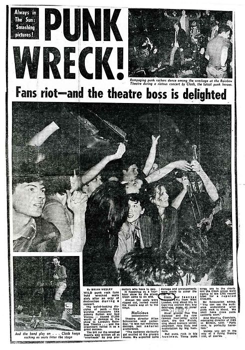 Punk Wreck! Newspaper after the infamous Clash riot gig at the Rainbow Theatre in 1977, where 200 front seats were ripped from the floor.