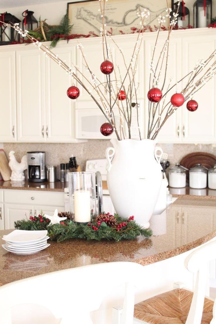 Decorating Island Kitchen Ideas Christmas Kitchen Decor Ways To Decorate For Christmas 736x1104 Mission Style Kitchen Designs Christmas Decorations