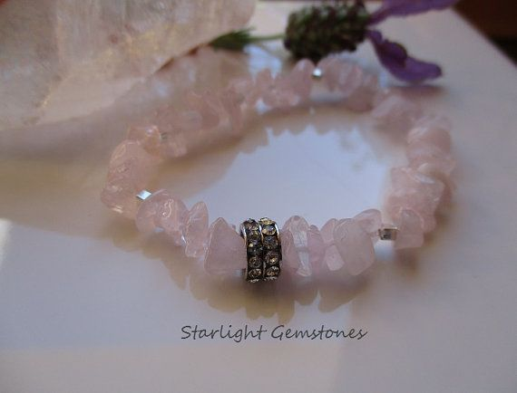 Rose Quartz Natural Gemstone Chip Stretch Bracelet with Sterling Silver spacers & Rhinestone metal spacer.