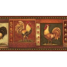 Brown Gypsy Roosters Wallpaper Border: Kitchen