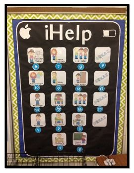 "I'm so excited to share my ""iHelp"" Bulletin Board icons I'm using this year with the kinders! Attached are the icons that I used (with black background to create an iPad look) complete with adorable clipart!Jobs include:-"