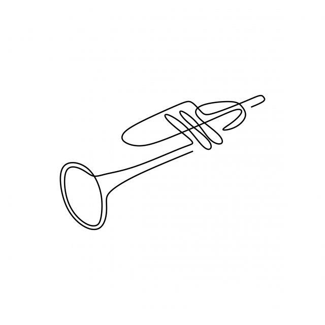 One Continuous Line Drawing Trumpet Music Instrument Vector Illustration Minimalist Design Single Line Art Trumpet Line Drawing Png And Vector With Transpare Minimalistische Zeichnung 3d Zeichnen Stickereimuster