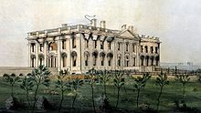 The White House as it appeared in 1814, after the British burned it. Dolly Madison rolled up the famous portrait of George Washington, that now hangs in the East room and rescued it from the flames.