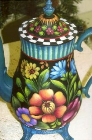 FLOWERS AND FUN COFFEE POT  ROSEMARY WEST, CDA  PATTERN PACKET