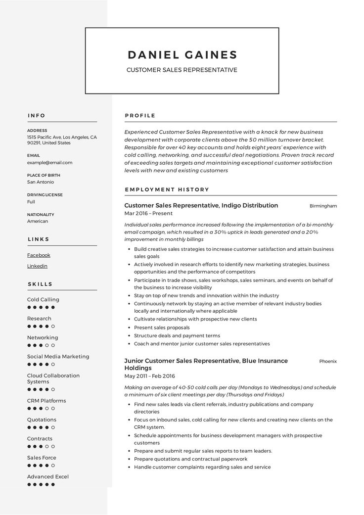Customer Sales Representative Resume, template, design
