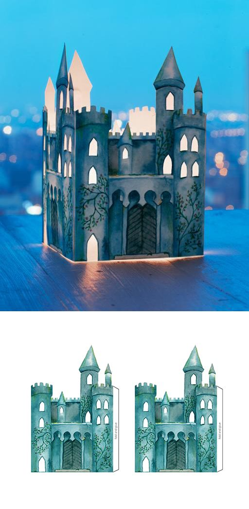 Free castle luminary printable, by Lova Blåvarg ❤ This would be a cute centerpiece, then use it as a night light if the party is a sleep over. A lot of kids feel better with some light on, even if they won't admit it.