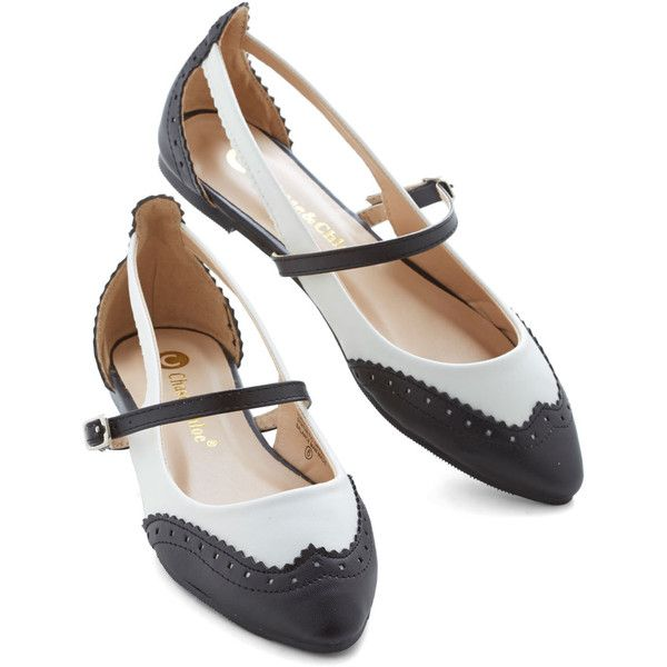 ModCloth Menswear Inspired Tappy and You Know It Flat ($24) ❤ liked on Polyvore featuring shoes, flats, vintage, ballet flat, flat, varies, ballet flat shoes, vintage shoes, ballerina flat shoes and black and white ballet flats