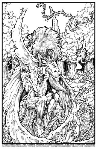 Fantasy Coloring Poster #6: Dragonman Daydreamer Image | Coloring ...