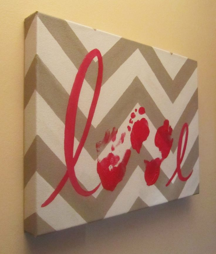 "Custom Handprint and Footprint ""Love"" Canvas Art"