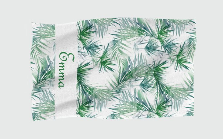 Personalised Beach Towel - Tropical Leaves by NJsBoutiqueCo on Etsy