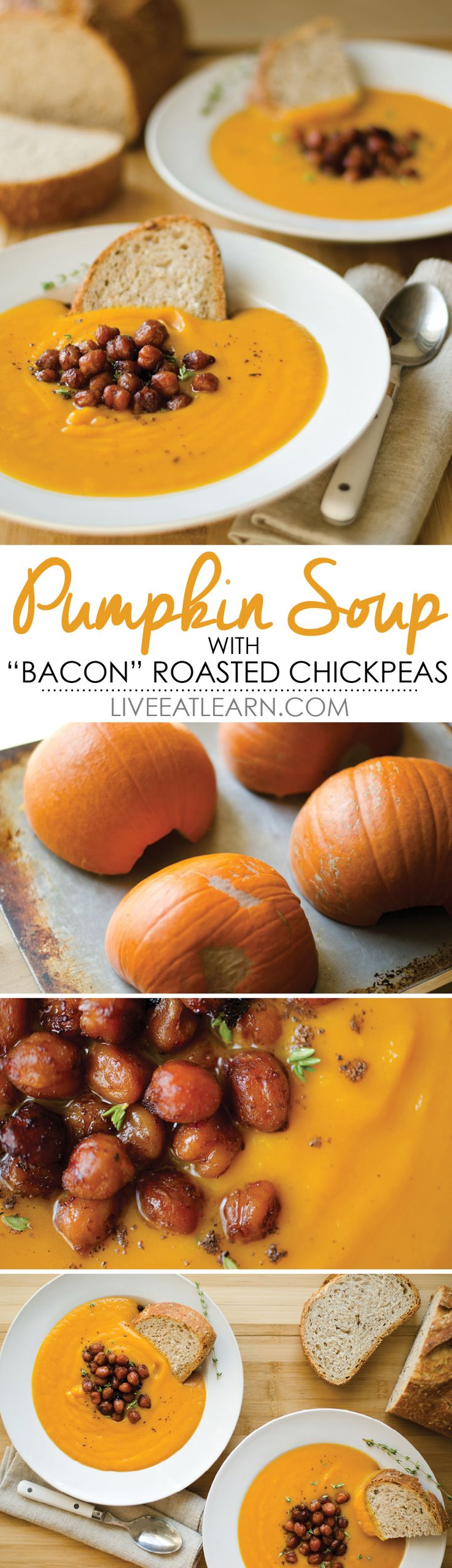 """Roasted red bell pepper and pumpkin soup with roasted """"bacon""""-tasting chickpeas // Live Eat Learn"""