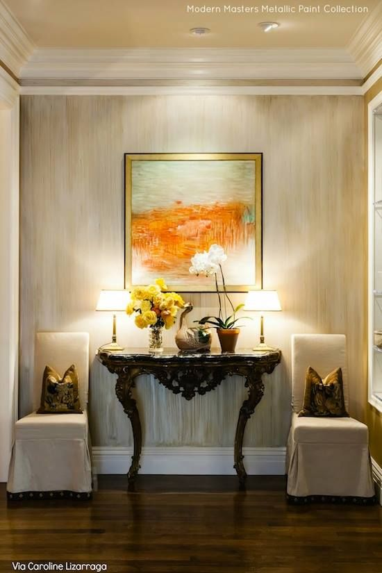 "Neutral finishes that still ""wow""! Caroline Lizarraga Decorative Painting used Modern Masters Metallic Paint Collection as a base & to help create a beautiful strie effect on a feature wall."