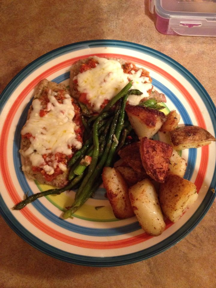Veal with asparagus and potatoes! Fresh tomatoes from the garden to make a salsa on top of veal! Yum!!!