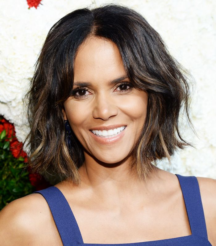 Halle Berry's choppy bob and soft, barely-there makeup.