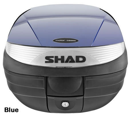 "Shad SH-29 motorcycle top case in blue. Designed to attach to most flat luggage racks. Its dimensions are: 14.9"" L x 15.7"" W x 11.8"" H   and has a 29 liter capacity. Your price is $125.95. With Free Shipping."