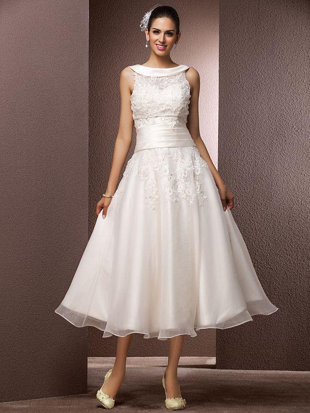 Lanting Bride® A-linje Petite Plusstorlekar Brudklänning - Mottagning Liten vit klänning Brudklänning med bolero Telång Prydd med juveler - SEK kr1,030