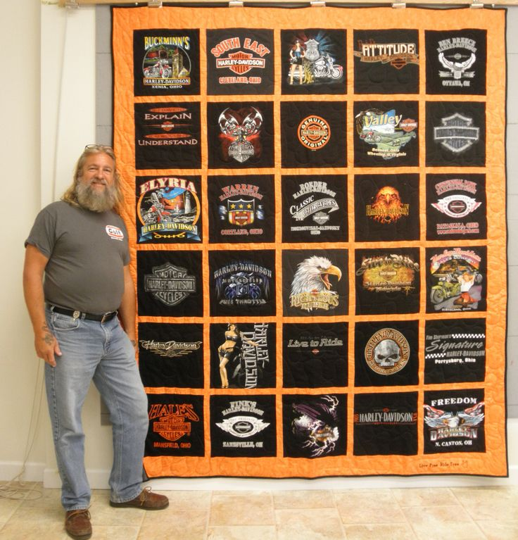 "Check out Harley Davidson t-shirt quilt! Customer's quote: ""I love traveling with my motorcycle, and I was just blown away when I saw the quilt! I love it!"" Please check us out at www.tshirtquilts.com for more information and pricing!"