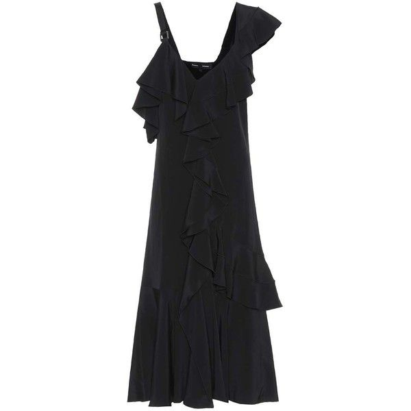 Proenza Schouler Crêpe Dress (3.996.675 COP) ❤ liked on Polyvore featuring dresses, black, crepe dress, knee high dresses, proenza schouler, knee-length dresses and crepe fabric dress