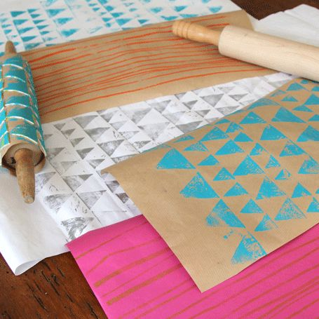 DIY printing with rolling pins. so simple and brilliant