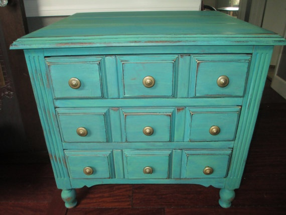 Vintage Teal Storage Cabinet / Nighstand / End Table / Coffee Table. $155.00, via Etsy.