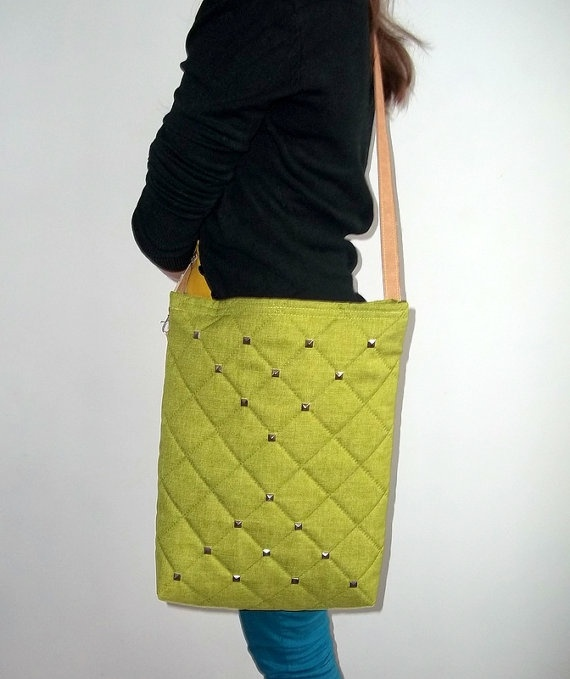 Shoulder Bag HOBOQuilted fabric Green Bag Spring Bag by ILAJLA, $49.00