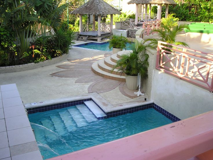 319 best images about pools on pinterest small yards for Pool design sloped yard