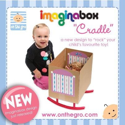 """21 Oct 2013 - We now have our fantastic, new Imaginabox® Cradle listed on our website!  Perfect for use with empty nappy boxes, all plastic parts & stickers are reusable, recyclable and simple to assemble...children will never be """"card-bored"""" again!  RRP $19.95."""