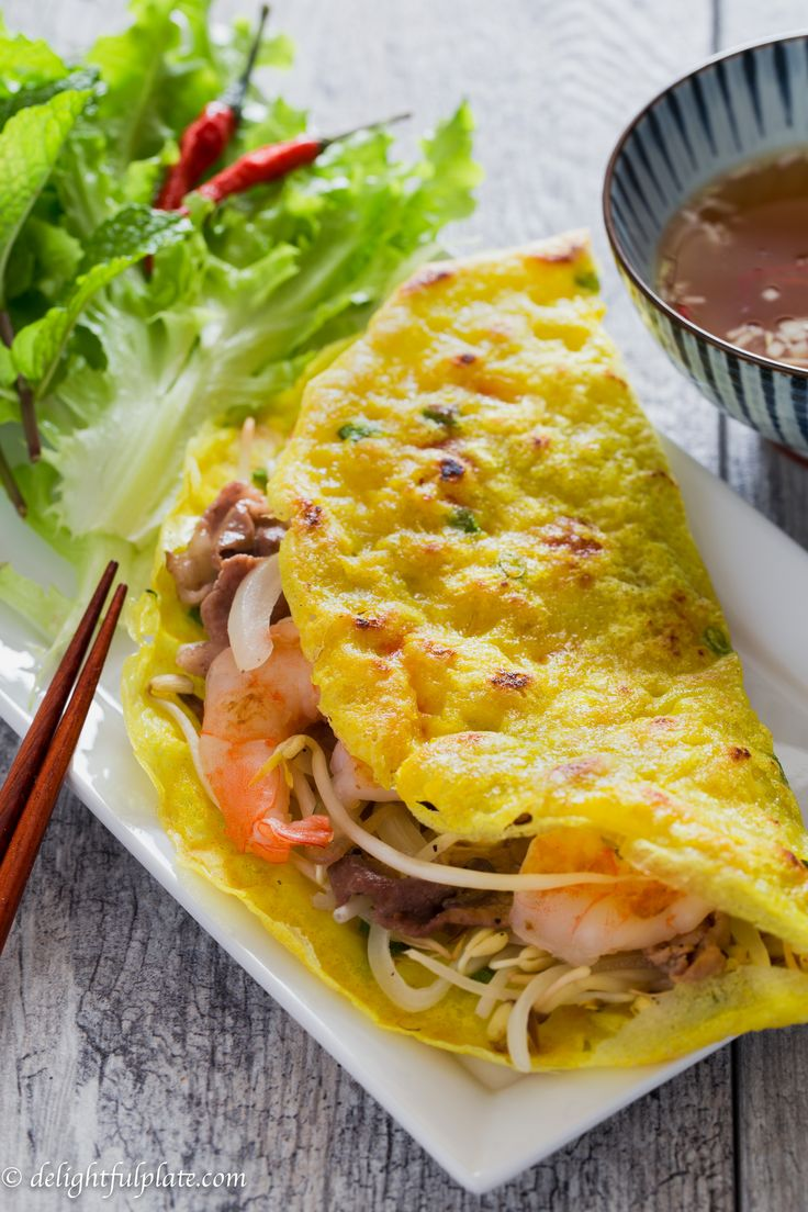 Vietnamese Sizzling Crepes Banh Xeo Recipe Asian