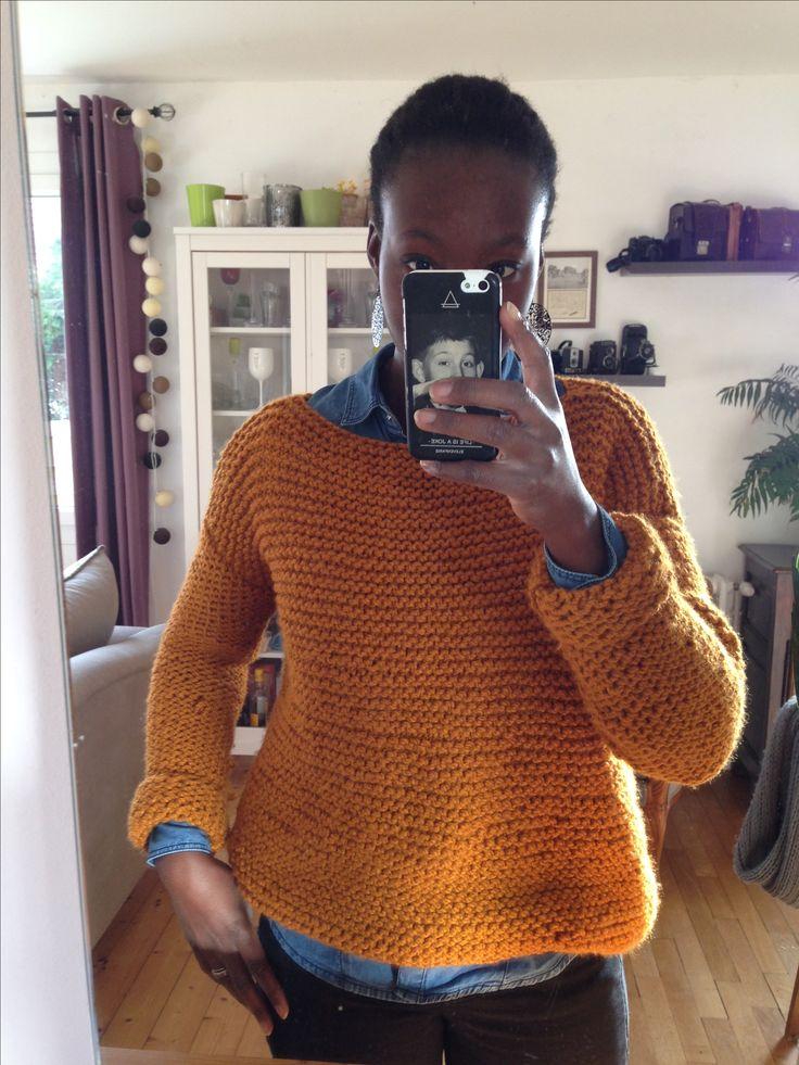 #pull #pointmousse #tricot #laine #pingouin #caramel #diy #facile # modele #unesourisdansmonarmoire #knitting