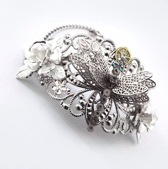 'On gossamer wings' Silver steampunk dragonfly bracelet