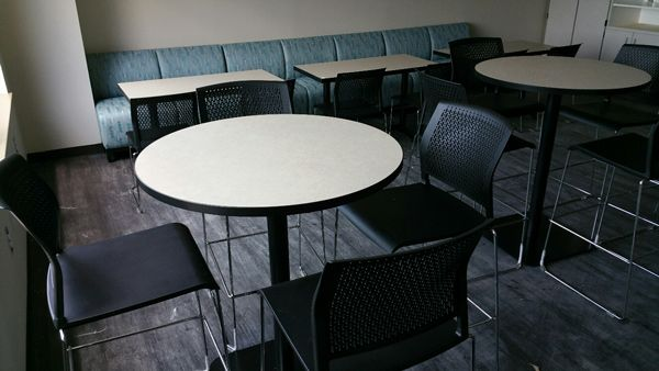 Cherokee County School District - Dr. Frank R. Petruzielo Educational Services Complex (Gaffney, SC) Ditto and Swift seating with occasional/side tables in a cafeteria/dining space #NationalOffice