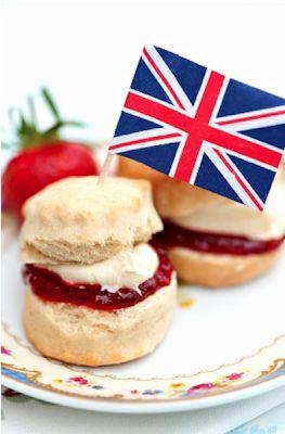 British bites with jam  cream cheese