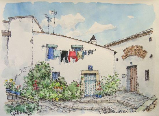 """花と洗濯物 (カセレス/スペイン)- 絵画販売・美styleアート""""高橋文平 ヨーロッパの街角から"""""""