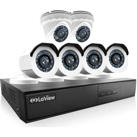LaView 6-Camera 8-Channel High-Definition DVR Security System with 4 x 720p HD Bullet Surveillance Cameras, 2 x 720p HD Turret Surveillance Cameras, 1TB Hard Drive and Remote View, White