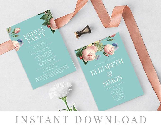 Paddle Program Templett DIY Wedding Ceremony Editable pdf Printable Wedding Program INSTANT DOWNLOAD Program Fan Berrypress Navy Blue